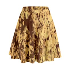 Abstract Brachiate Structure Yellow And Black Dendritic Pattern High Waist Skirt