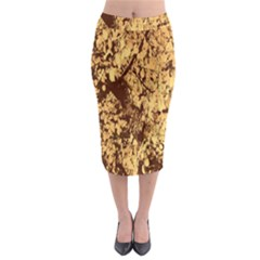 Abstract Brachiate Structure Yellow And Black Dendritic Pattern Midi Pencil Skirt