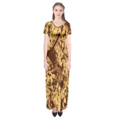 Abstract Brachiate Structure Yellow And Black Dendritic Pattern Short Sleeve Maxi Dress