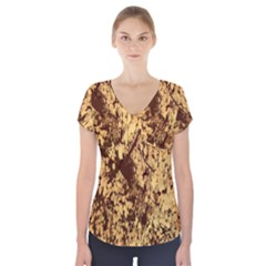 Abstract Brachiate Structure Yellow And Black Dendritic Pattern Short Sleeve Front Detail Top
