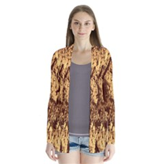 Abstract Brachiate Structure Yellow And Black Dendritic Pattern Cardigans