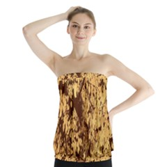 Abstract Brachiate Structure Yellow And Black Dendritic Pattern Strapless Top