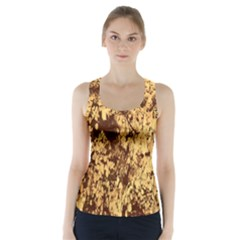 Abstract Brachiate Structure Yellow And Black Dendritic Pattern Racer Back Sports Top