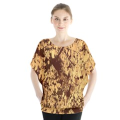 Abstract Brachiate Structure Yellow And Black Dendritic Pattern Blouse