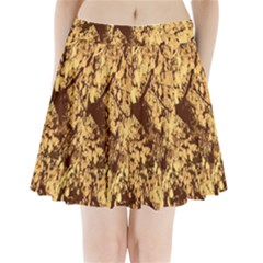 Abstract Brachiate Structure Yellow And Black Dendritic Pattern Pleated Mini Skirt