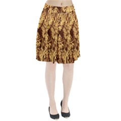 Abstract Brachiate Structure Yellow And Black Dendritic Pattern Pleated Skirt