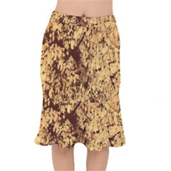 Abstract Brachiate Structure Yellow And Black Dendritic Pattern Mermaid Skirt