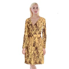 Abstract Brachiate Structure Yellow And Black Dendritic Pattern Long Sleeve Velvet Front Wrap Dress