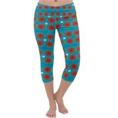 Floral Seamless Pattern Vector Capri Yoga Leggings