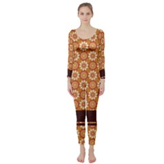 Floral Seamless Pattern Vector Long Sleeve Catsuit