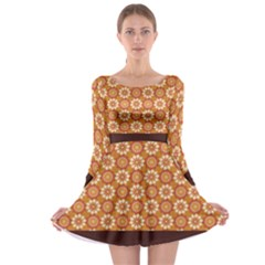 Floral Seamless Pattern Vector Long Sleeve Skater Dress