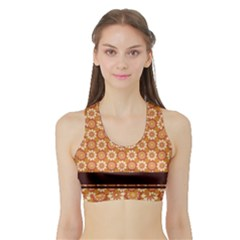 Floral Seamless Pattern Vector Sports Bra with Border