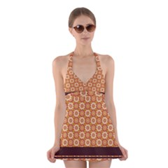 Floral Seamless Pattern Vector Halter Swimsuit Dress