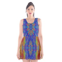 A Creative Colorful Backgroun Scoop Neck Skater Dress