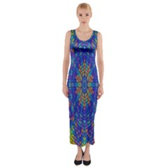 A Creative Colorful Backgroun Fitted Maxi Dress