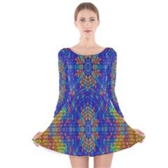 A Creative Colorful Backgroun Long Sleeve Velvet Skater Dress