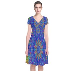 A Creative Colorful Backgroun Short Sleeve Front Wrap Dress