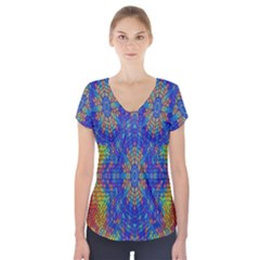 A Creative Colorful Backgroun Short Sleeve Front Detail Top