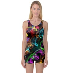 Rainbow Ribbon Swirls Digitally Created Colourful One Piece Boyleg Swimsuit