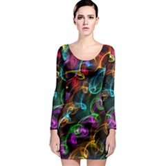 Rainbow Ribbon Swirls Digitally Created Colourful Long Sleeve Bodycon Dress
