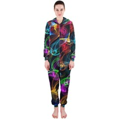 Rainbow Ribbon Swirls Digitally Created Colourful Hooded Jumpsuit (ladies)