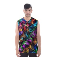 Rainbow Ribbon Swirls Digitally Created Colourful Men s Basketball Tank Top
