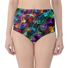 Rainbow Ribbon Swirls Digitally Created Colourful High-Waist Bikini Bottoms