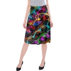 Rainbow Ribbon Swirls Digitally Created Colourful Midi Beach Skirt