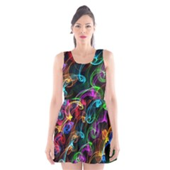 Rainbow Ribbon Swirls Digitally Created Colourful Scoop Neck Skater Dress