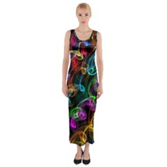 Rainbow Ribbon Swirls Digitally Created Colourful Fitted Maxi Dress