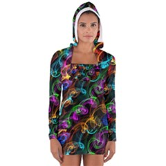 Rainbow Ribbon Swirls Digitally Created Colourful Women s Long Sleeve Hooded T-shirt