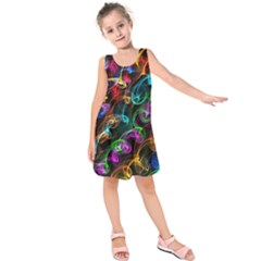 Rainbow Ribbon Swirls Digitally Created Colourful Kids  Sleeveless Dress