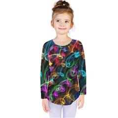 Rainbow Ribbon Swirls Digitally Created Colourful Kids  Long Sleeve Tee