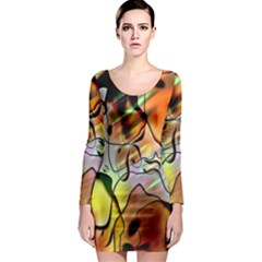 Abstract Pattern Texture Long Sleeve Bodycon Dress