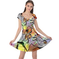 Abstract Pattern Texture Cap Sleeve Dresses