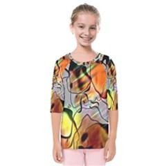 Abstract Pattern Texture Kids  Quarter Sleeve Raglan Tee