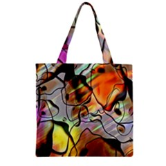 Abstract Pattern Texture Zipper Grocery Tote Bag