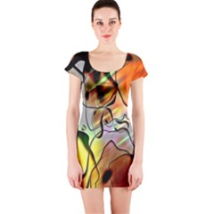 Abstract Pattern Texture Short Sleeve Bodycon Dress
