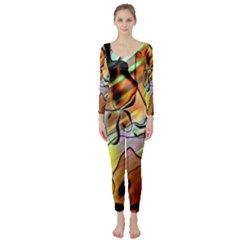 Abstract Pattern Texture Long Sleeve Catsuit