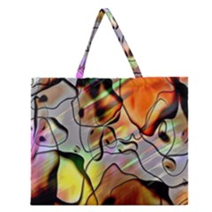 Abstract Pattern Texture Zipper Large Tote Bag