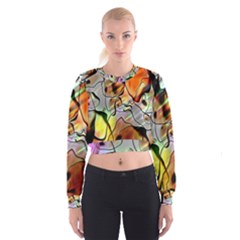 Abstract Pattern Texture Cropped Sweatshirt