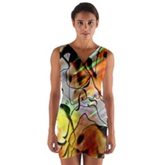 Abstract Pattern Texture Wrap Front Bodycon Dress