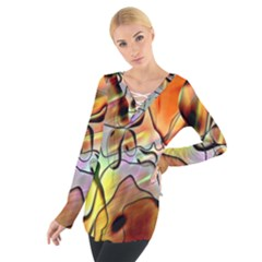 Abstract Pattern Texture Women s Tie Up Tee