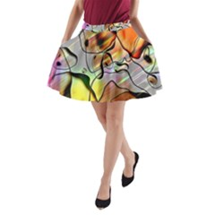 Abstract Pattern Texture A Line Pocket Skirt