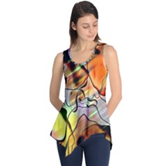 Abstract Pattern Texture Sleeveless Tunic