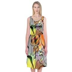 Abstract Pattern Texture Midi Sleeveless Dress