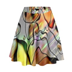 Abstract Pattern Texture High Waist Skirt