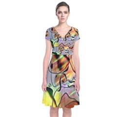 Abstract Pattern Texture Short Sleeve Front Wrap Dress