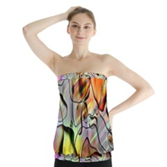 Abstract Pattern Texture Strapless Top