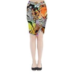 Abstract Pattern Texture Midi Wrap Pencil Skirt
